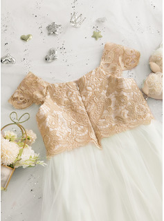 A-Line Sweep Train Flower Girl Dress - Tulle/Lace Short Sleeves Scoop Neck
