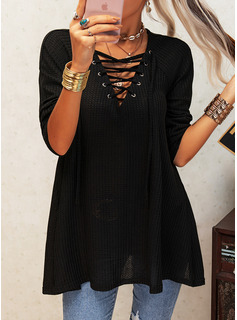 Regular Fitted Solid Casual Long Sleeves