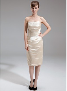 Sheath/Column Sweetheart Knee-Length Charmeuse Mother of the Bride Dress