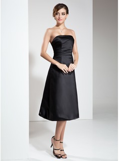 A-Line/Princess Strapless Knee-Length Satin Bridesmaid Dress With Ruffle