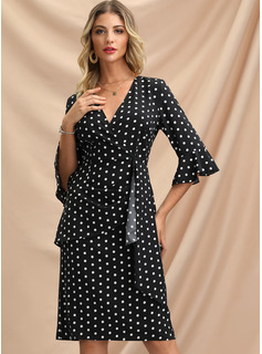 Polyester With Crumple/PolkaDot Knee Length Dress