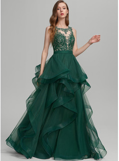 Ball-Gown/Princess Scoop Neck Floor-Length Tulle Prom Dresses With Ruffle Lace