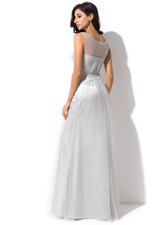 Trumpet/Mermaid Scoop Neck Floor-Length Tulle Evening Dress With Ruffle Beading Sequins