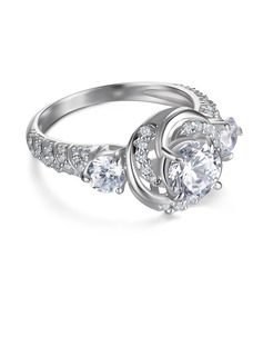 Three Stone Round Cut 925 Silver Engagement Rings
