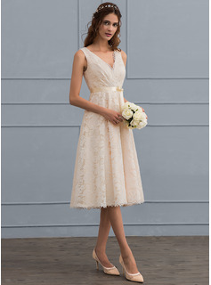 A-Line V-neck Knee-Length Lace Wedding Dress With Bow(s)