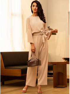 Solid Shift Round Neck 3/4 Sleeves Maxi Casual Elegant Little Black Jumpsuits Dresses