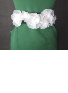 Beautiful Satin/Organza Sash With Flower