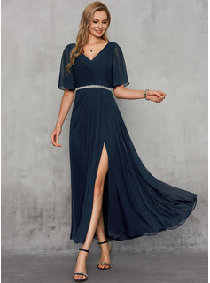 A-Line V-neck Ankle-Length Chiffon Evening Dress With Sash Beading Split Front
