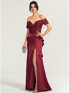 Sheath/Column Off-the-Shoulder Sweep Train Satin Evening Dress With Sequins Split Front