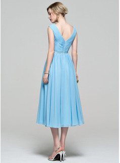 A Line V-Neck Chiffon Tea Length Dress