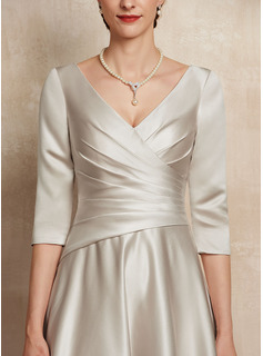 V-neck Tea-Length Satin Mother of the Bride Dress With Ruffle