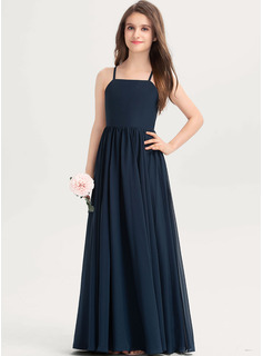 A-Line Square Neckline Floor-Length Chiffon Junior Bridesmaid Dress With Bow(s)