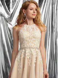 A-Line Halter Short/Mini Tulle Prom Dresses With Lace Beading Sequins