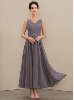 V-neck Ankle-Length Chiffon Mother of the Bride Dress With Beading Appliques Lace Sequins