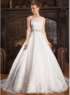 Ball-Gown Scoop Neck Court Train Tulle Wedding Dress With Lace Beading Sequins