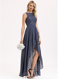 Scoop Neck Asymmetrical Chiffon Lace Bridesmaid Dress With Sequins Cascading Ruffles