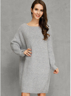 Polyester With Knitting/Solid Knee Length Dress
