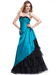 A-Line/Princess Sweetheart Floor-Length Taffeta Organza Prom Dresses With Beading Appliques Lace Cascading Ruffles