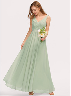 V-neck Floor-Length Chiffon Bridesmaid Dress With Ruffle Split Front