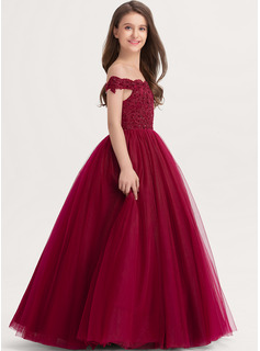 Ball-Gown/Princess Off-the-Shoulder Floor-Length Tulle Lace Junior Bridesmaid Dress With Beading Sequins