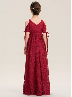 A-Line V-neck Floor-Length Lace Junior Bridesmaid Dress With Ruffle Bow(s)