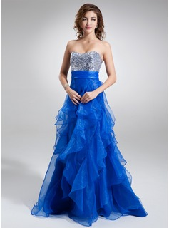 A-Line/Princess Sweetheart Sweep Train Organza Sequined Prom Dresses With Cascading Ruffles
