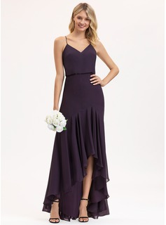 Trumpet/Mermaid V-neck Asymmetrical Chiffon Bridesmaid Dress With Cascading Ruffles