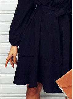 Solid A-line V-Neck Long Sleeves Midi Casual Little Black Skater Dresses