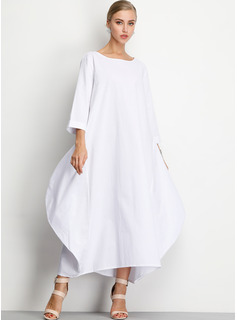 Polyester/Cotton With Solid Maxi Dress