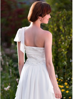 A-Line/Princess One-Shoulder Asymmetrical Chiffon Wedding Dress With Ruffle Beading Bow(s)