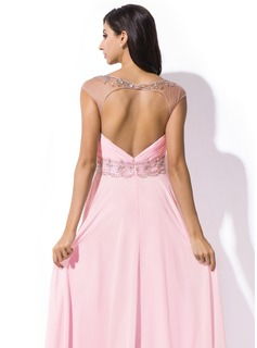 A-Line/Princess Scoop Neck Sweep Train Chiffon Prom Dresses With Ruffle Beading Sequins