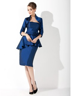 Sheath/Column Sweetheart Knee-Length Taffeta Mother of the Bride Dress With Ruffle Flower(s) Cascading Ruffles