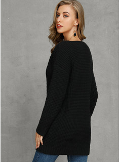 Pulls Gaufre-Tricoter Couleur Unie Polyester Col V Pull-overs Pulls