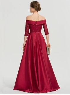 A-Line Off-the-Shoulder Asymmetrical Satin Prom Dresses With Sequins