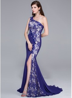 Trumpet/Mermaid One-Shoulder Sweep Train Chiffon Lace Prom Dresses With Beading Sequins Split Front