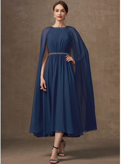 A-Line Scoop Neck Tea-Length Chiffon Cocktail Dress With Beading