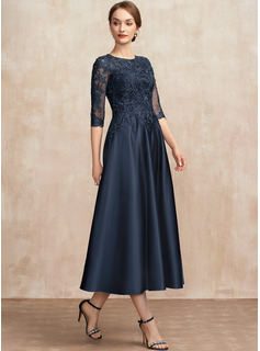 A-Line Scoop Neck Tea-Length Satin Lace Cocktail Dress With Sequins