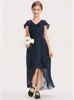 A-Line V-neck Asymmetrical Chiffon Junior Bridesmaid Dress With Cascading Ruffles