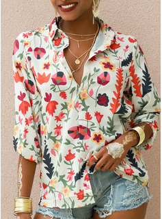 Regular Cotton Blends V-Neck Print Knit Blouses