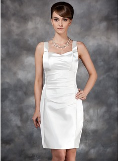Sheath/Column Sweetheart Knee-Length Charmeuse Wedding Dress With Ruffle