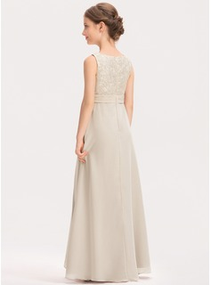 Scoop Neck Floor-Length Chiffon Lace Junior Bridesmaid Dress With Ruffle
