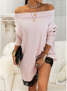 Lace Solid Off the Shoulder Long Sleeves Casual Long Sweater Dress Dresses