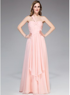 A-Line/Princess One-Shoulder Floor-Length Chiffon Prom Dress With Ruffle