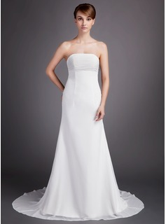 A-Line/Princess Strapless Court Train Chiffon Wedding Dress With Ruffle