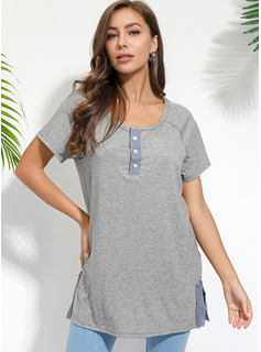 Short Sleeves Cotton V Neck Knit T-shirt Blouses