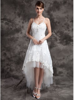 A-Line/Princess V-neck Asymmetrical Organza Tulle Wedding Dress With Beading Appliques Lace