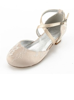 Girl's Round Toe Closed Toe Mary Jane Silk Like Satin Low Heel Flower Girl Shoes With Rhinestone