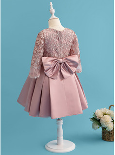 A-Line Knee-length Flower Girl Dress - Satin/Lace Long Sleeves Scoop Neck With Bow(s)