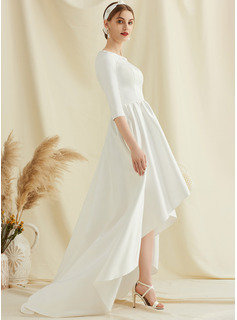 Scoop Neck Asymmetrical Satin Wedding Dress With Pockets