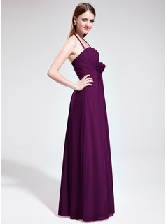 Empire Halter Floor-Length Chiffon Bridesmaid Dress With Ruffle Flower(s)